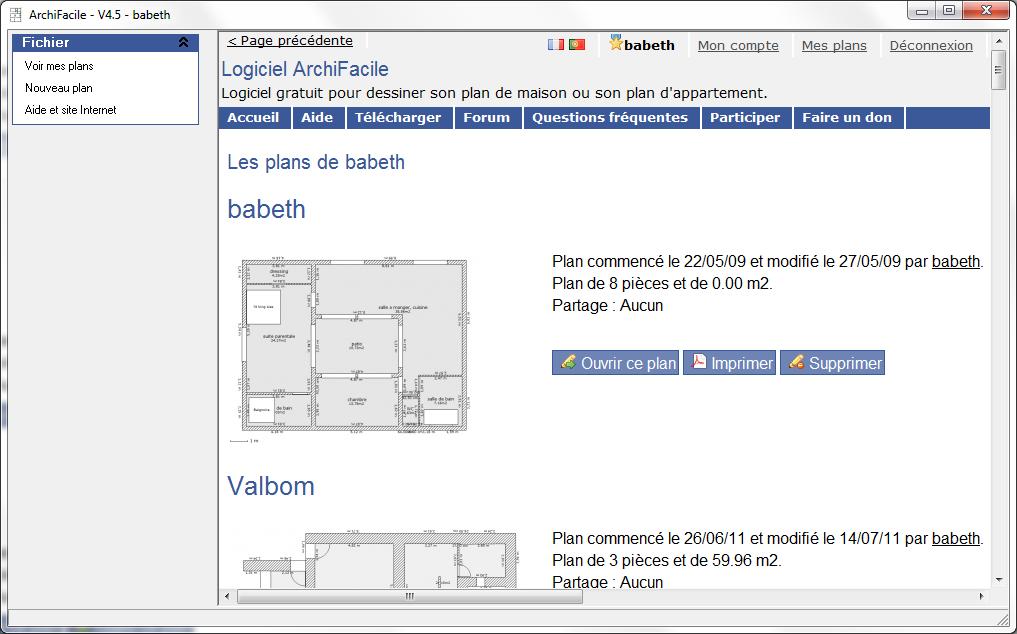 plan de maison et plan d 39 appartement gratuit logiciel archifacile. Black Bedroom Furniture Sets. Home Design Ideas