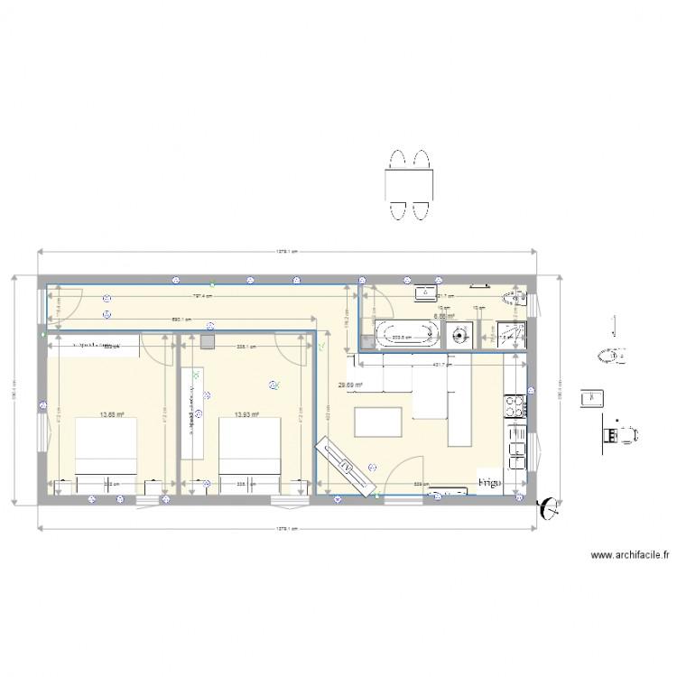 Ma maison plan 4 pi ces 64 m2 dessin par mimminou for Dessine ma maison gratuitement