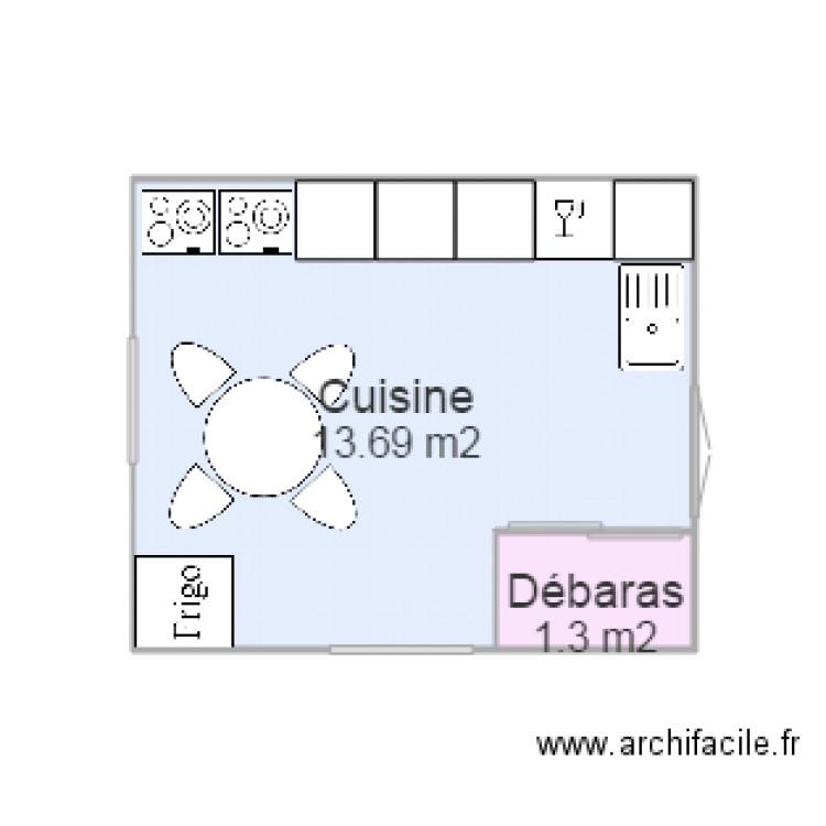 Cuisine plan 2 pi ces 15 m2 dessin par adefr for Plan de cuisine facile