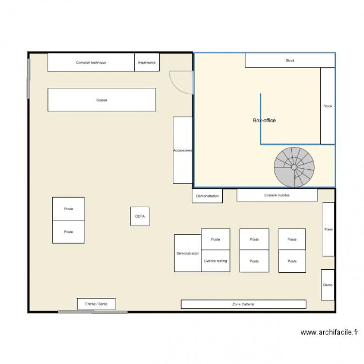 plan magasin plan 2 pi ces 95 m2 dessin par marine g. Black Bedroom Furniture Sets. Home Design Ideas
