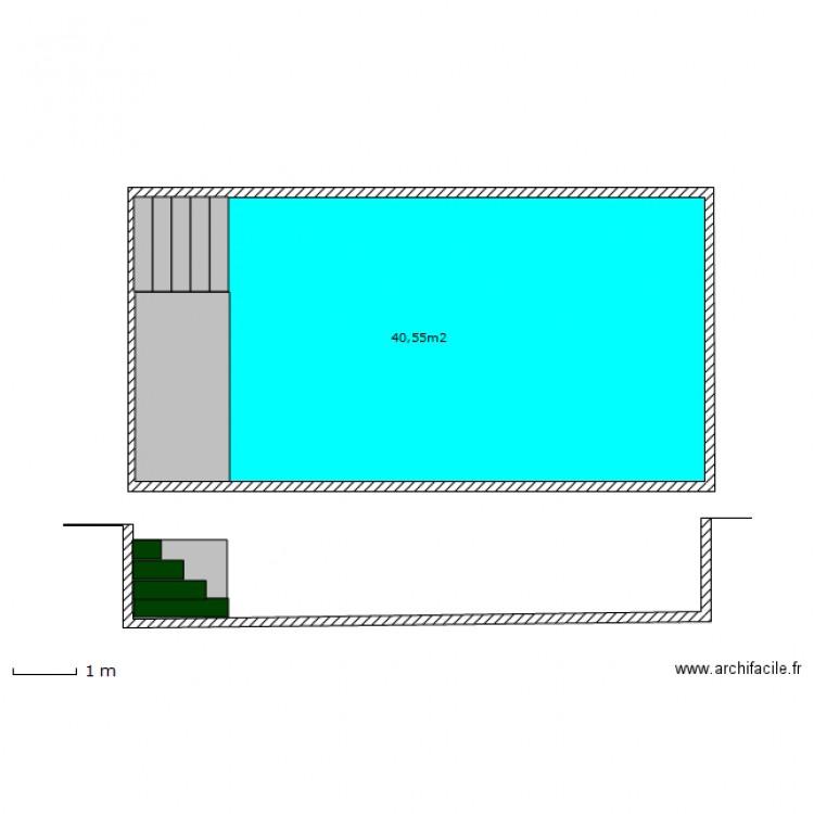 Plan en coupe piscine plan 1 pi ce 41 m2 dessin par zuliano for Plan de coupe de maison