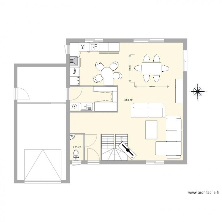 plan de maison avec garage plan 2 pi ces 56 m2 dessin. Black Bedroom Furniture Sets. Home Design Ideas