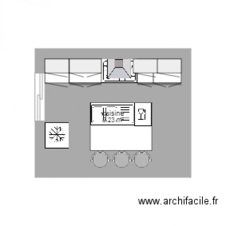 cuisine plan 1 pi ce 9 m2 dessin par angemax26. Black Bedroom Furniture Sets. Home Design Ideas