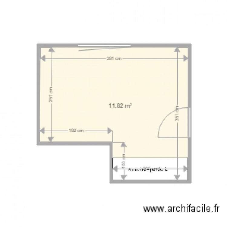 Chambre 1 modifi e plan 1 pi ce 12 m2 dessin par vianney13 for Chambre one piece
