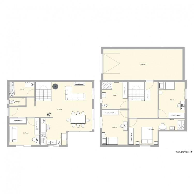 maison etage 90m avec d croch cuisine plan 11 pi ces 170 m2 dessin par lauriepg73. Black Bedroom Furniture Sets. Home Design Ideas