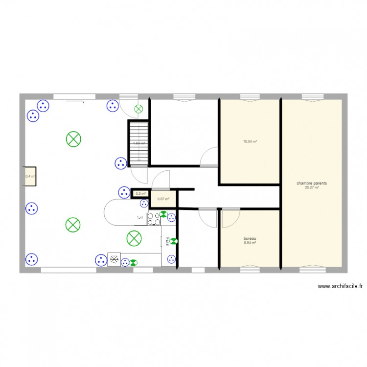 electricit s jour salon cuisine plan 7 pi ces 40 m2 dessin par jeanmichel hatzig. Black Bedroom Furniture Sets. Home Design Ideas
