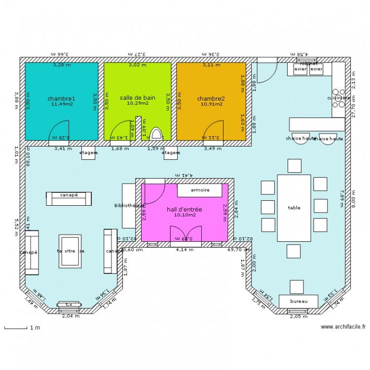 Préférence maison plein pied - Plan 5 pièces 130 m2 dessiné par Lucielol LD43