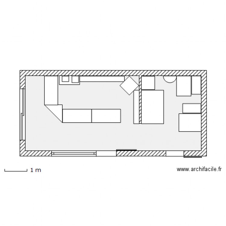 Agencement point chaud plan 1 pi ce 26 m2 dessin par for Plan d agencement