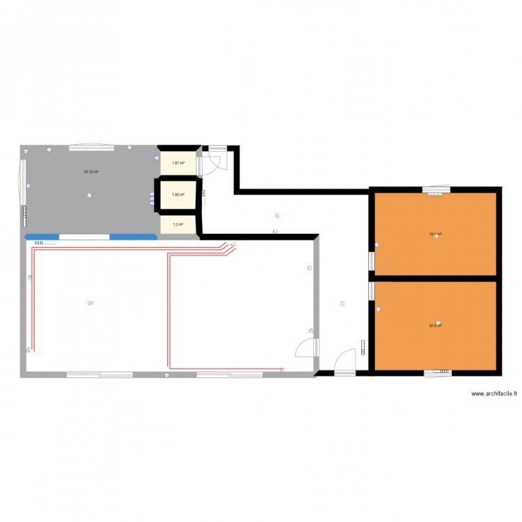 Electricite plan 6 pi ces 65 m2 dessin par binioupate for Plan 65