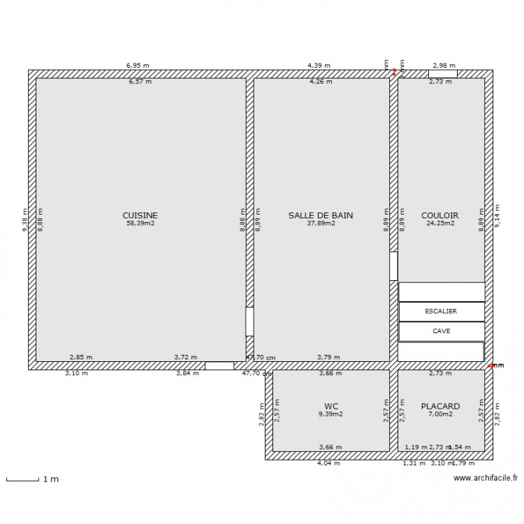 cuisine salle de bain actuelle plan 5 pi ces 137 m2 dessin par flotess. Black Bedroom Furniture Sets. Home Design Ideas