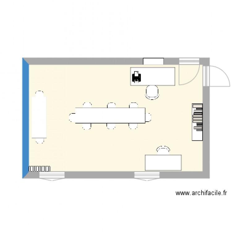 Plan du bureau plan 1 pi ce 28 m2 dessin par laura delforge for Nombre de m2 par personne bureau