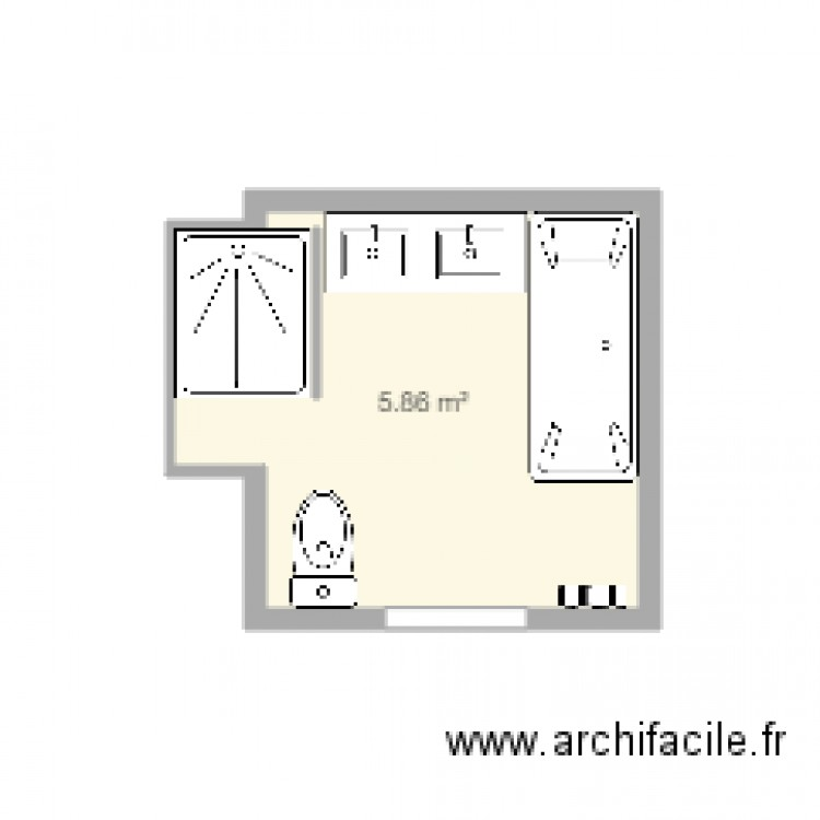 salle de bain 2 plan 1 pi ce 6 m2 dessin par miyana77. Black Bedroom Furniture Sets. Home Design Ideas