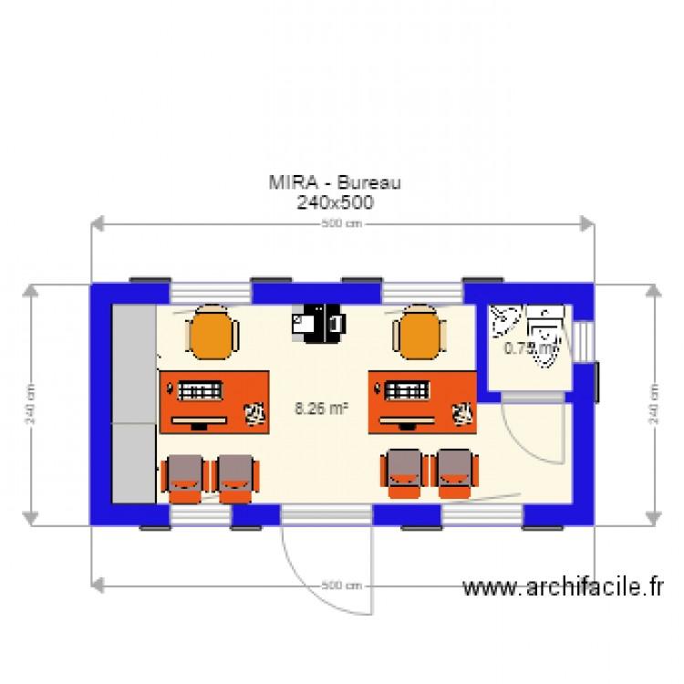 Mira 6 bureau 240x500 plan 2 pi ces 9 m2 dessin par sdbg for Bureau petite taille