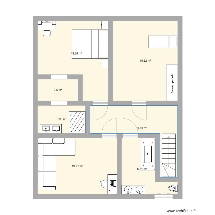 Etage bis plan 7 pi ces 65 m2 dessin par chehab for Plan 65