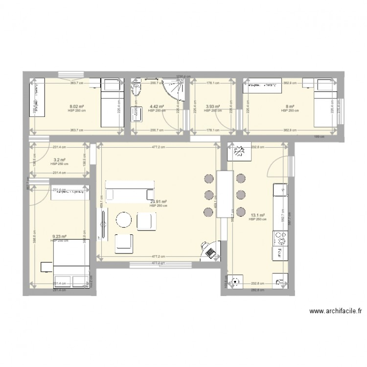 Maison container t4 plan 8 pi ces 72 m2 dessin par for Plan maison t4