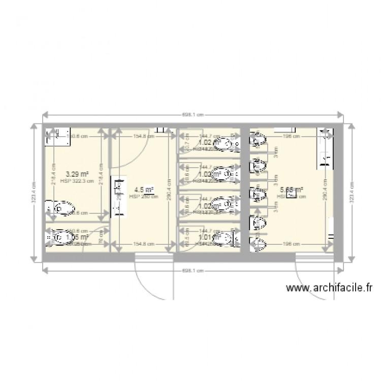 toilette bettignies plan 8 pi ces 19 m2 dessin par poure. Black Bedroom Furniture Sets. Home Design Ideas