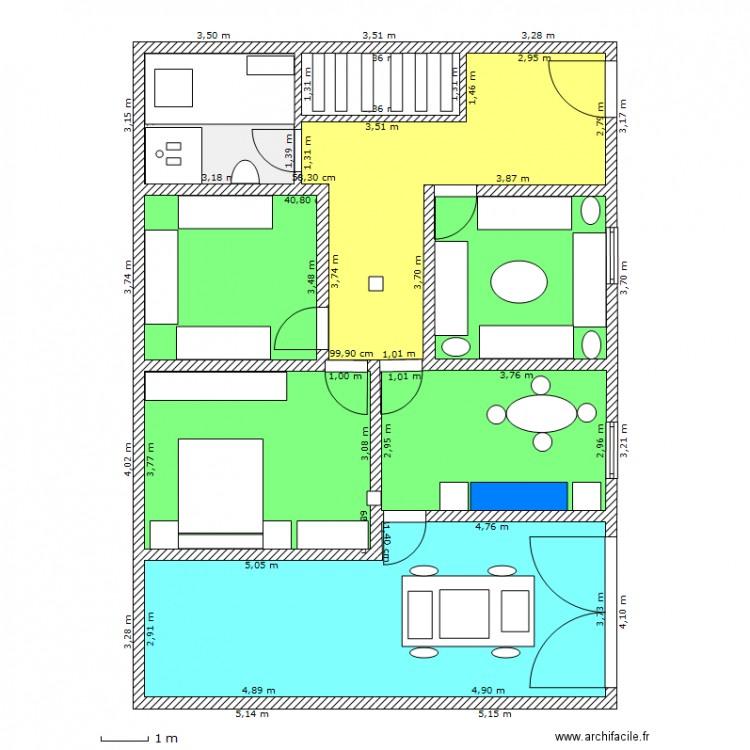 Maison r1 plan 8 pi ces 123 m2 dessin par midou76 for Plan d une maison simple