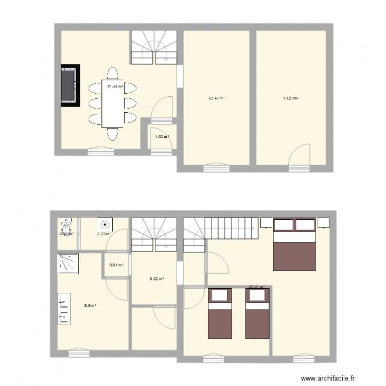 rez de chausse plan 10 pi ces 93 m2 dessin par val79. Black Bedroom Furniture Sets. Home Design Ideas