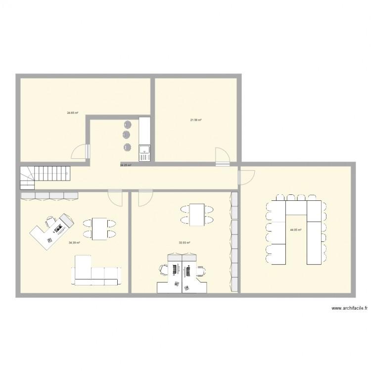 Tbs bureau etage v3 plan 6 pi ces 183 m2 dessin par for Nombre de m2 par personne bureau