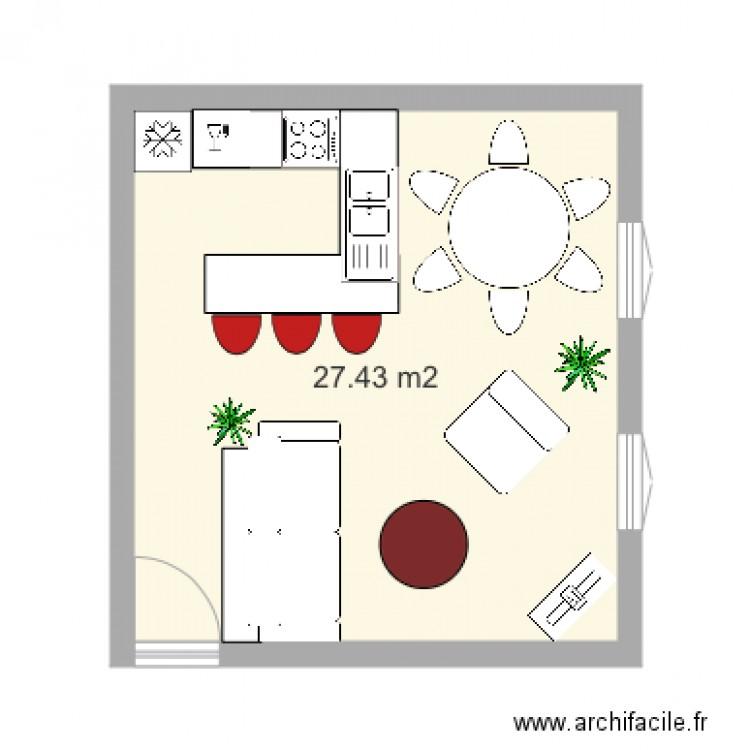 30 metres carres plan 1 pi ce 27 m2 dessin par emilie. Black Bedroom Furniture Sets. Home Design Ideas