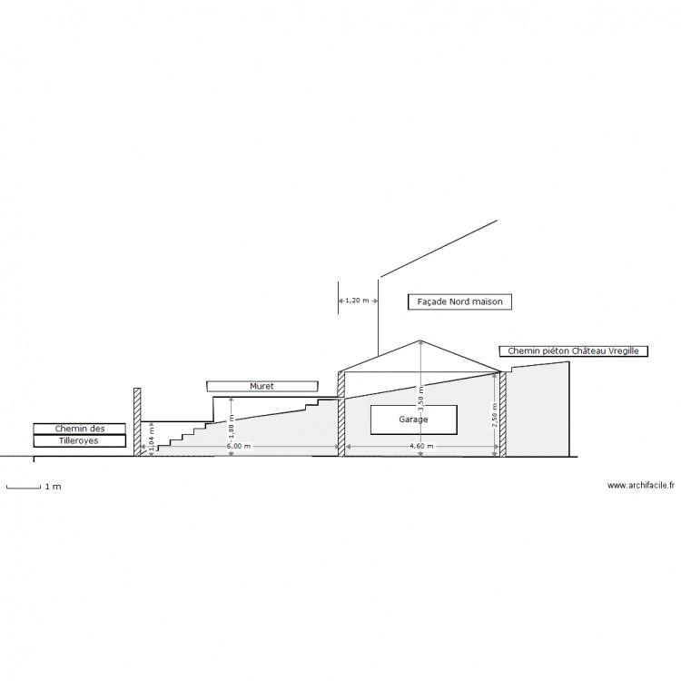 Plan Coupe Maison: DP3 COUPE DU TERRAIN AU DROIT DU CHEMIN PIETON