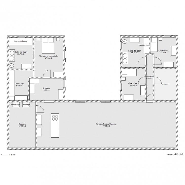 Maison en u plan 11 pi ces 220 m2 dessin par ludivine170411 for Plan maison moderne en u
