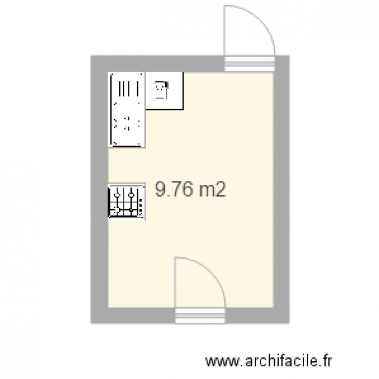 cuisine maman plan 1 pi ce 10 m2 dessin par elojf. Black Bedroom Furniture Sets. Home Design Ideas