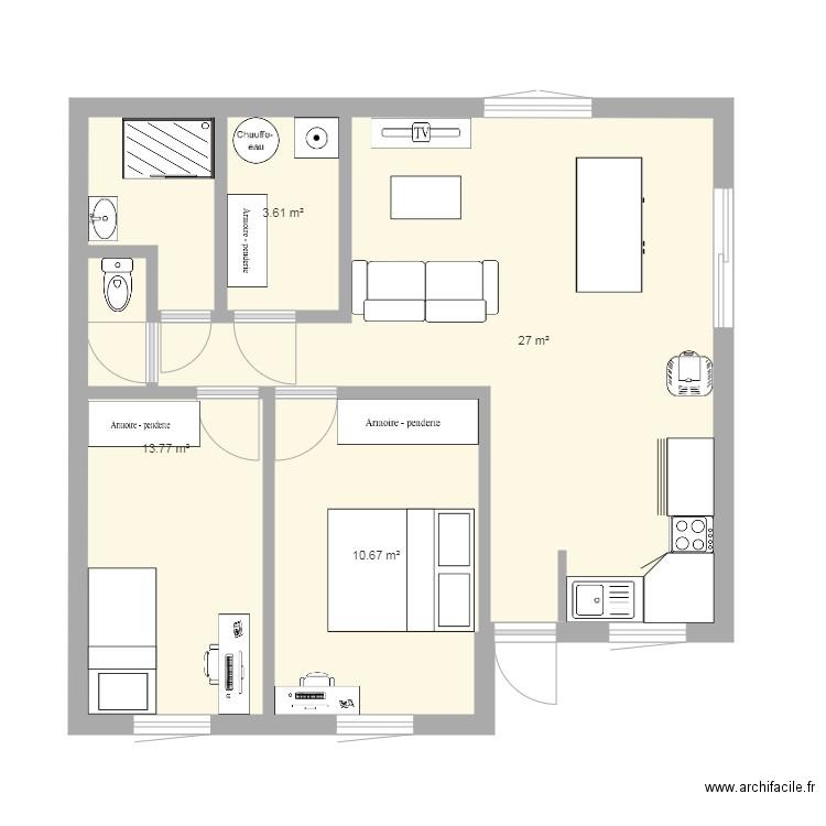 Plan maison 2 chambres 56m - Plan 5 pièces 58 m2 dessiné par Catherine Secher