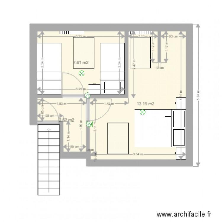 am nagement tage maison de campagne plan 3 pi ces 23 m2 dessin par etiennedavy. Black Bedroom Furniture Sets. Home Design Ideas