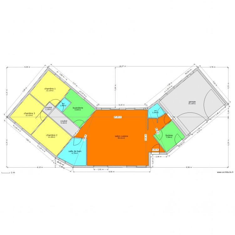 Maison neuve implantation plan 12 pi ces 166 m2 dessin for Plan implantation maison