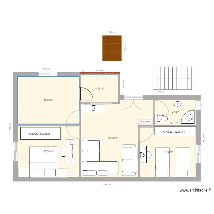 Hawari3 plan 6 pi ces 65 m2 dessin par hawari for Plan 65