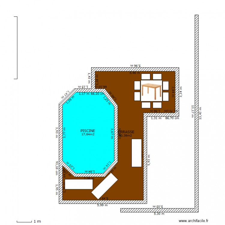 Piscine 6x4 plan 2 pi ces 48 m2 dessin par cmoi1301 for Piscine semi enterree 6x4
