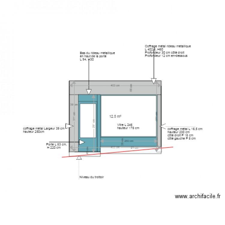 plan de coupe fa ade ext rieure boutique plan 1 pi ce 13 m2 dessin par soleil4475. Black Bedroom Furniture Sets. Home Design Ideas