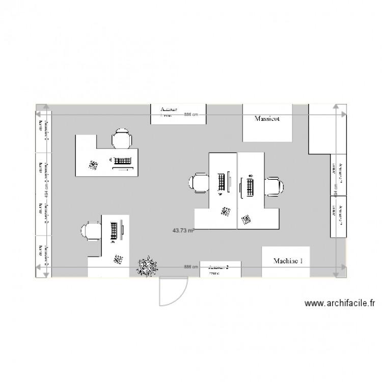 Bureau vanves 4 personnes plan 1 pi ce 44 m2 dessin par for Nombre de m2 par personne bureau