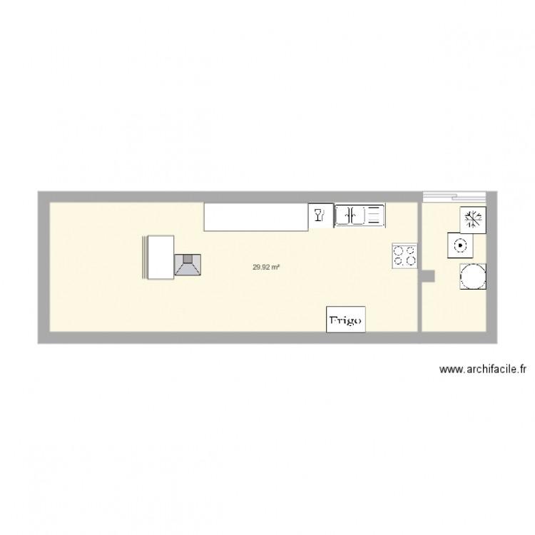 Cuisine plan 1 pi ce 30 m2 dessin par sabn - Construire un plan de travail ...