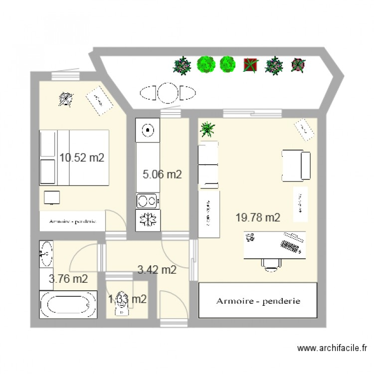 plan appartement plan 6 pi ces 44 m2 dessin par appartparisideal. Black Bedroom Furniture Sets. Home Design Ideas