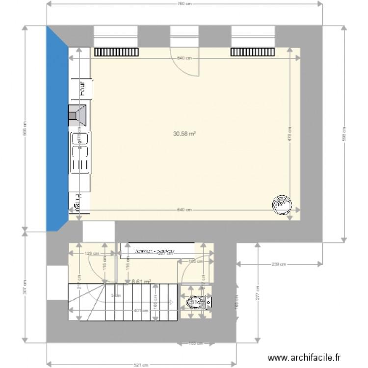 rez de chausse finale plan 3 pi ces 40 m2 dessin par nicoetcoco. Black Bedroom Furniture Sets. Home Design Ideas