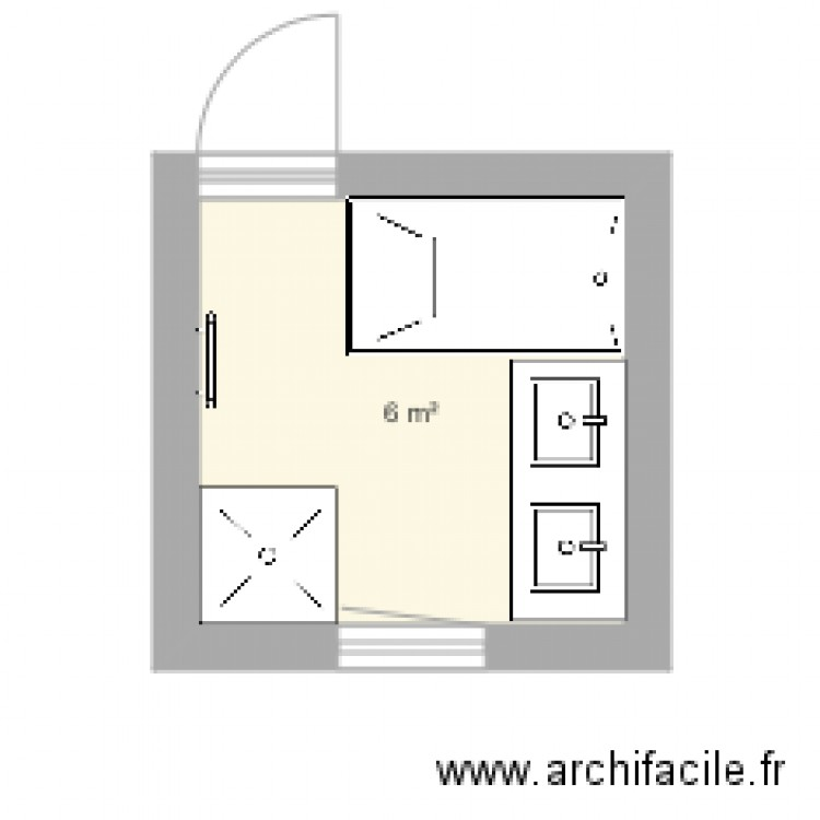salle de bain plan 1 pi ce 6 m2 dessin par vvallet. Black Bedroom Furniture Sets. Home Design Ideas