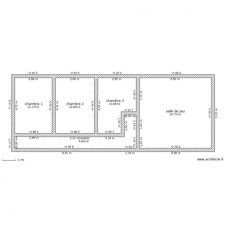 Maison ancienne etage plan 5 pi ces 75 m2 dessin par for Plan de maison 5 pieces
