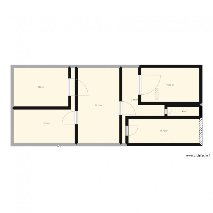 Plan maison plan 7 pi ces 86 m2 dessin par anais78500 for Taille moyenne maison
