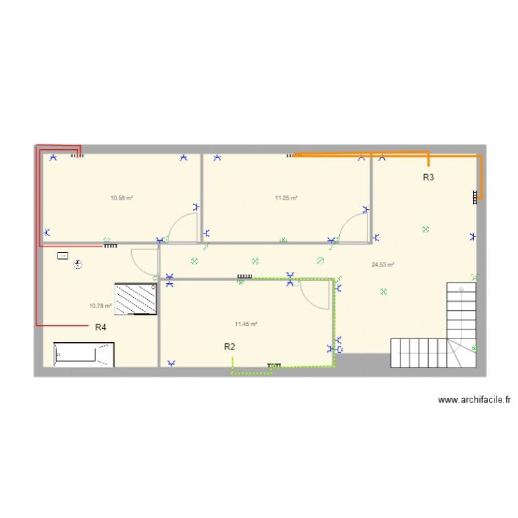 Plan tage avec chauffage plan 5 pi ces 69 m2 dessin for Chauffage watt par m2