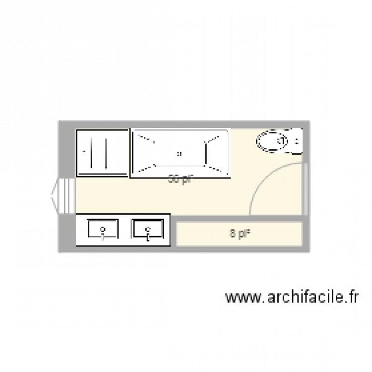 salle de bain prise 2 plan 2 pi ces 6 m2 dessin par nancyjeff. Black Bedroom Furniture Sets. Home Design Ideas
