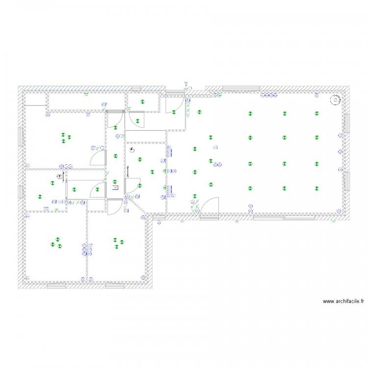 rez de chauss plan 14 pi ces 107 m2 dessin par lleconte. Black Bedroom Furniture Sets. Home Design Ideas