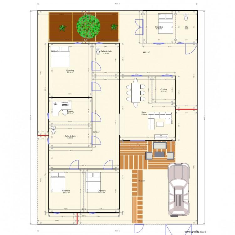 Plan 1 maison bamako mali plan 14 pi ces 291 m2 dessin for Construire une maison au mali