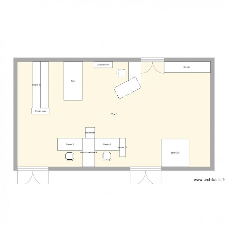 Bureau smti projet 1 plan 1 pi ce 85 m2 dessin par for Bureau petite taille