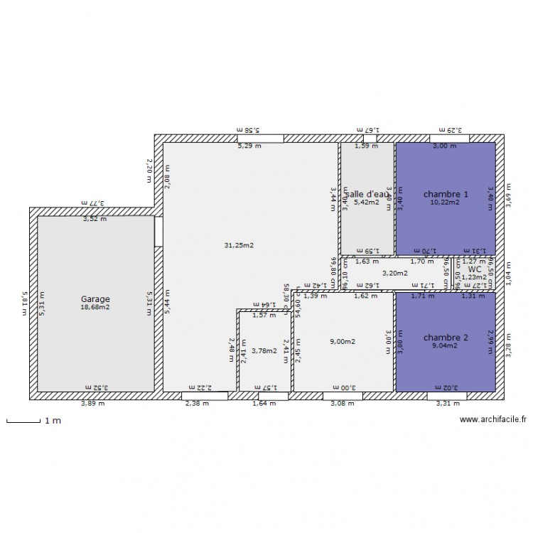 Plan maison 80m2 plan 9 pi ces 92 m2 dessin par cisco4430 for Plan maison 80m2