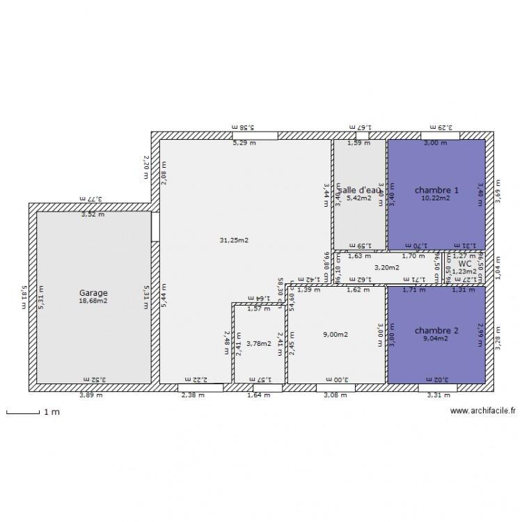 plan maison 80m2 plan 9 pi ces 92 m2 dessin par cisco4430. Black Bedroom Furniture Sets. Home Design Ideas