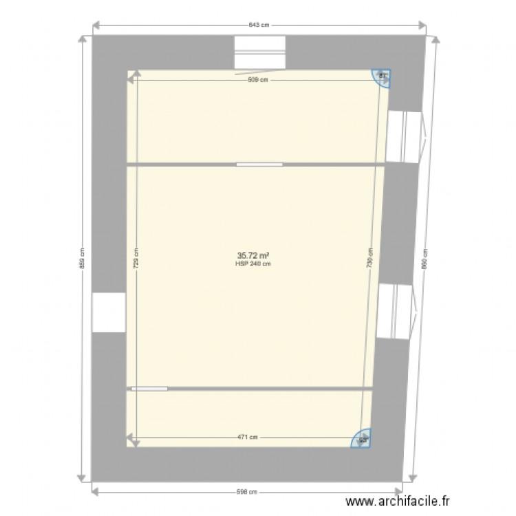 Chambre 1 plan 1 pi ce 36 m2 dessin par damien63 for Chambre one piece