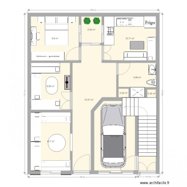 rez de chauss plan 11 pi ces 82 m2 dessin par erableatlass. Black Bedroom Furniture Sets. Home Design Ideas