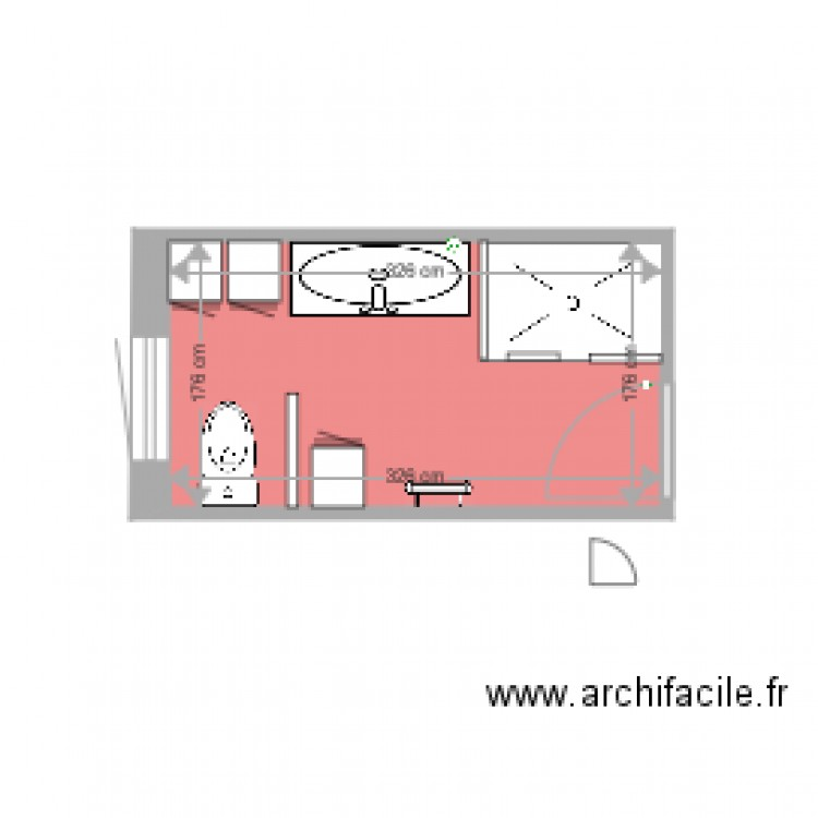 salle de bain 3 plan 1 pi ce 6 m2 dessin par alainbone. Black Bedroom Furniture Sets. Home Design Ideas
